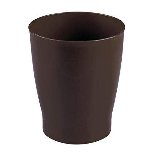 InterDesign Franklin Wastebasket Trash Can for Bathroom, Bedroom, Dorm, Office Waste, Dark Brown