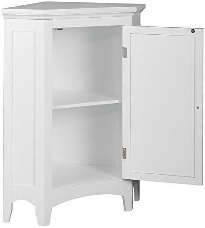 Modern Adjustable Bayfield Shutter Door Corner Floor Cabinet White Finish