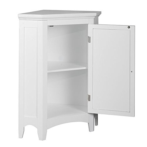 Modern Adjustable Bayfield Shutter Door Corner Floor Cabinet White Finish by Elegant Home Fashions (Image #2)