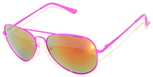 Stylish Neon Pink Metal Frame Aviator Sunglasses with Flash Mirror Lens Gold-Red Color Spring - Sunglasses Aviator Neon