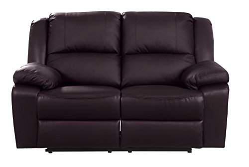 Classic Oversize and Overstuffed Living Room Recliner Set - 3 Piece Air Leather Chair Recliner Set (Brown)