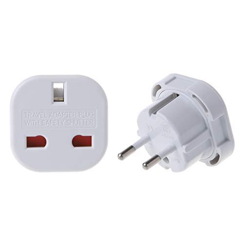 shaoyanger AC Power Adapter Wall Socket Converter UK to EU Plug 240V Travel Hotel Office for Phone (White)
