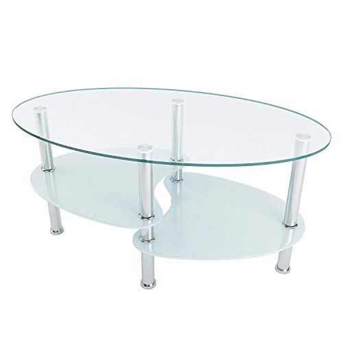 Utheing 35'' Two Tiers Oval Glass Coffee Table Tempered Glass Stainless Steel Double Layers Coffee Tables for ()