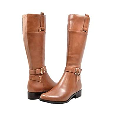 9052e3284e9 SoleMani Gabi Women s Cognac Leather X-Slim Calf Riding Boot Size 5.5