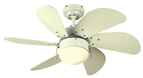 (Westinghouse Lighting 7814565 Turbo Swirl 30-Inch 6-Blade Ceiling Fan, White with Opal Globe)