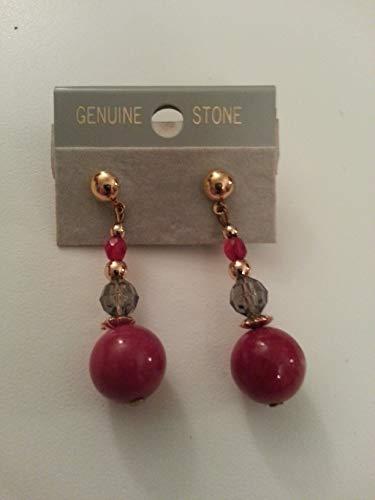 (Semi Precious Red Quartz & Smokey Bead Piered Earrings w/Gold Tone Accents)