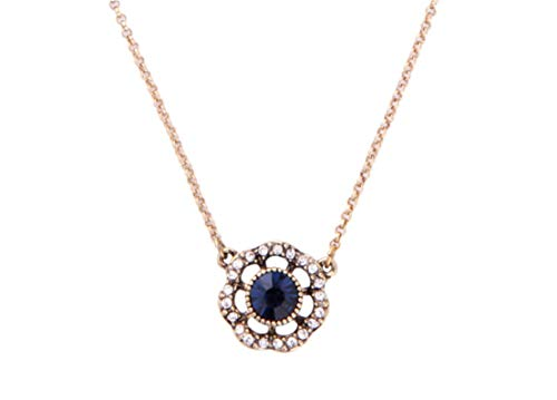 (NORTHSTAR PEARLS AND JEWELRY: Crystal Flower Pendant Necklace for Adults. Vintage Gold-Tone Cute Chain Necklace with Dark Blue Crystal.)