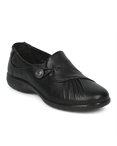Alrisco Leatherette Pleated Working Shoe - Elevated Heel Office Loafer - Casual Walking Everyday Comfortable Work Clog - HD93 by Refresh Collection - Black Leatherette (Size: (Black Pleated Shoes)