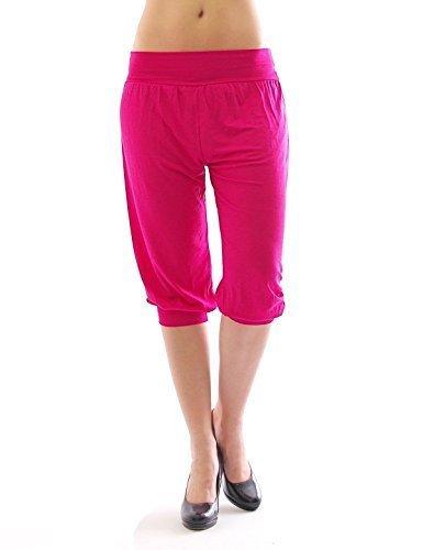 Harem Harems Aladin Pantalon POMPE CAPRI 3/4 haute couleur Leggings Baggy été - rose, M