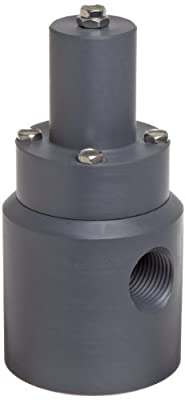 Plast-O-Matic RVD Series PVC Relief Valve for Low Through High Pressure, For Corrosive and Ultra-Pure Liquids, 5-100 psi Pressure Range, NPT Female