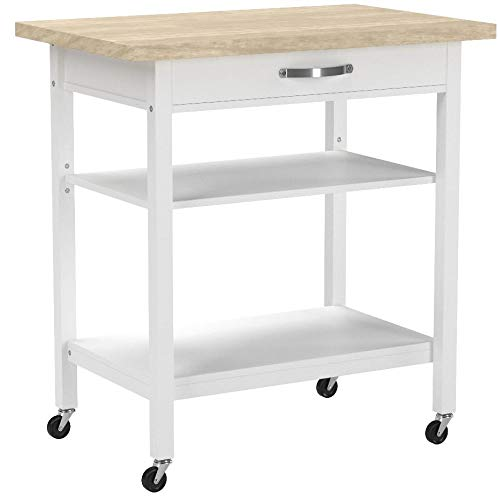 Mainstays Multi-Function Cart with Drawer and Adjustable Shelf (White)
