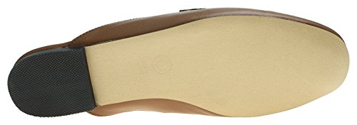 Annakastle Womens Penny Backless Glisser Sur Mocassins Plat Mule Sans Fourrure Brun + Penny Sangle Type 1