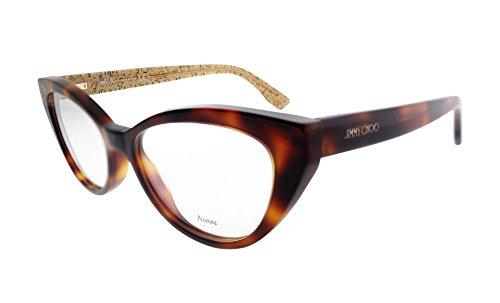 New Jimmy Choo JC 149 Q9W Havana Beige Glitter Frame Cat Eye Eyeglasses - Eye Cat Glitter Glasses