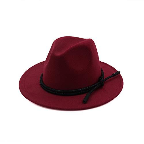 Borsalino Leather - CORATO Wool Fedora Hat Leather Rope Decorated Hawkins Felt Cap Wide Brim Trilby Feminino Hat Women Men Jazz Black