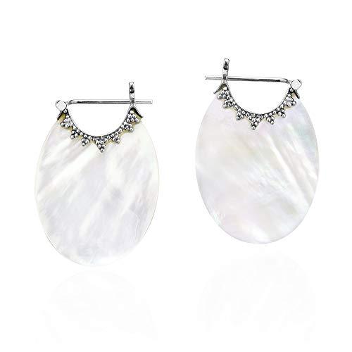 (Understated Bali Trim Oval White Mother of Pearl Basket Sterling Silver Huggie Hoop Earrings)