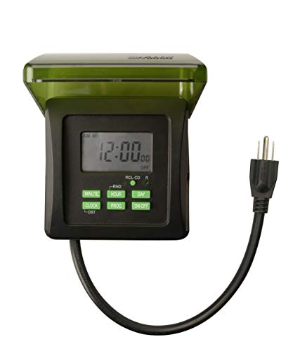 (Woods 50015WD Outdoor 7-Day Heavy Duty Digital Plug-in Timer, 2 Grounded Outlets, Weatherproof, Perfect for Automating Holiday/Christmas Lights, 3/4 Horse Power, Energy Saving Precision Programming, Black & Green)