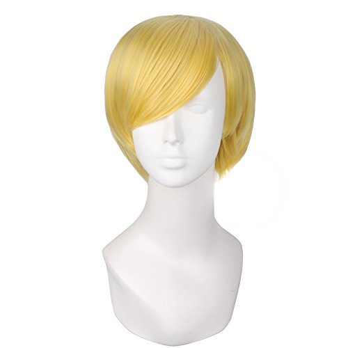 MapofBeauty Cosplay Costume Men's Short Straight Wig (Gold)