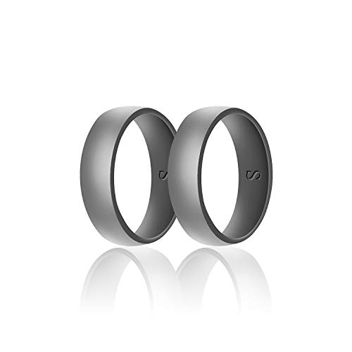 SANXIULY Mens Silicone Wedding Ring&Durable Rubber Wedding Bands Safe and Weight Lifting for Workout and Active Athletes Width 8mm Pack of 2 Color Light Grey Size 9 -
