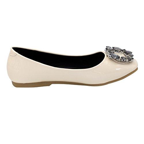 AalarDom Mujer Sin cordones Puntera Cuadrada Material Suave Sólido Plano con Diamante Albaricoque
