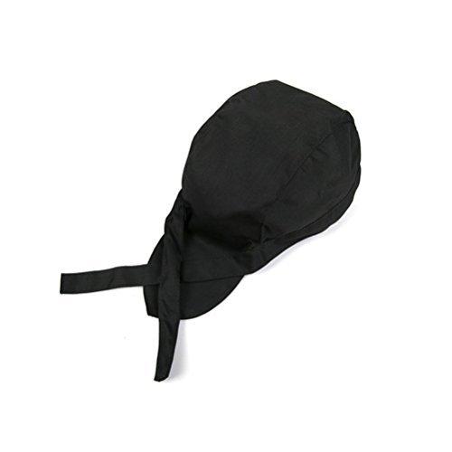 Tinksky Chefs Hat Kitchen Catering Skull Cap Ribbon Cap Turban (Black) ()