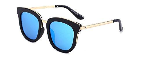 Polvo y polarizan Gafas Manera Blue Sol Que Femeninas Marco Clásica la Las Que del Sol Black Masculinas de Frame Negro Diseña de Wfkjj para Gafas xUaqIY