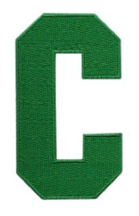 Hockey Style Patch GREEN C Patch (Captain) Iron On for Jersey Football, Baseball. Soccer, Hockey, Lacrosse, Basketball