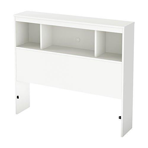 South Shore Furniture 39'' Litchi Bookcase Headboard, Twin, Pure White