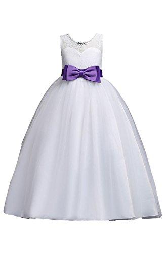 BOFETA Girls Round Neck Sleeveless Flower Girl Mesh Bow Dress,Purple,150