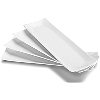 DOWAN 14 Inches Porcelain Serving Plates, Rectangular Platters, Set of 4, White