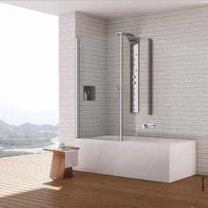 Mampara de baño Miriam en ángulo de puertas giratorias. Altura 155 ...