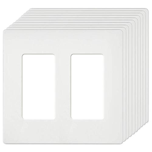 Wall Plates 2 ([10 Pack] BESTTEN 2-Gang Screwless Wall Plate, USWP4 White Series, Slightly Larger Size Outlet Cover for Light Switch, Dimmer, USB, GFCI, Decor Receptacle, Residential and Commercial, UL Listed)