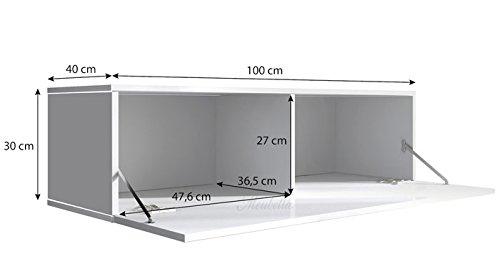 muebles bonitos Mobile TV sospeso Design Forli M Nero - Larghezza ...