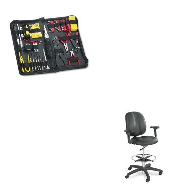 KITFEL49106SAF6689BL - Value Kit - Safco Adjustable T-Pad Arms for Apprentice Series Chairs (SAF6689BL) and Fellowes 55-Piece Computer Tool Kit in Black Vinyl Zipper Case (FEL49106)