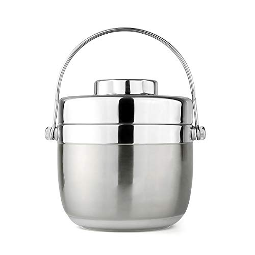 Lunch Box, Kework 1.5L Stainless Steel Lunch Box, Premium Insulated Lunch Box with Handle, Hand-held 2-teir Compartment Lunch Box, 2 layer Food Storage Container (Silver Grey) (Handheld Lunch Box)