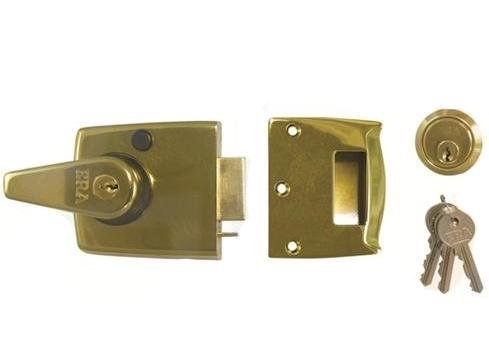 latch 40mm Brass Effect. Automatic Deadlocking Brass Cylinder with 3 Keys by ERA (Deadlocking Cylinder)