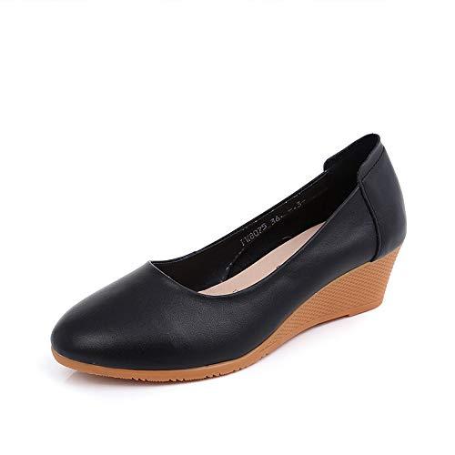 A FLYRCX Chaussures en Cuir à Talon compensé Confortables Chaussures antidérapantes pour Femmes Chaussures d'extérieur Sandales 35 EU