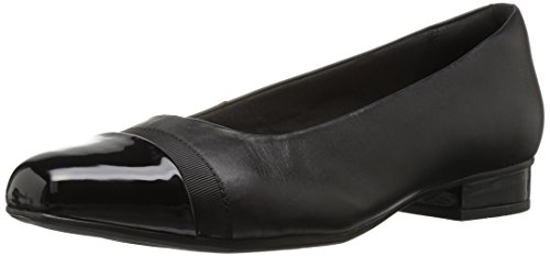 CLARKS Women's Juliet Monte Pump, Black Leather/Synthetic, 100 M US