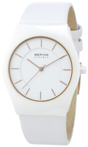BERING Time 32035-656 Women's Ceramic Collection Watch with Leather Band and scratch resistant sapphire crystal. Designed in Denmark.