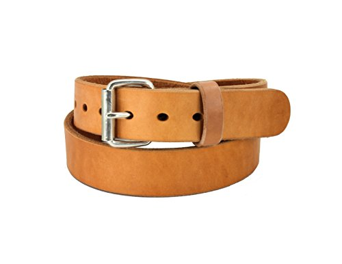 Daltech Force RoughCut - Concealed Carry CCW Natural Leather Gun Belt - 15-17 oz Full Grain Leather Belt (Smooth Natural, 58) - Smooth Grain