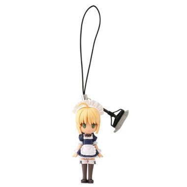 Fate Q Fortune Figure Cell Phone Charm Strap ~ Saber Maid costume ~ Middle Luck by Kaiyodo Stay Night Capsule