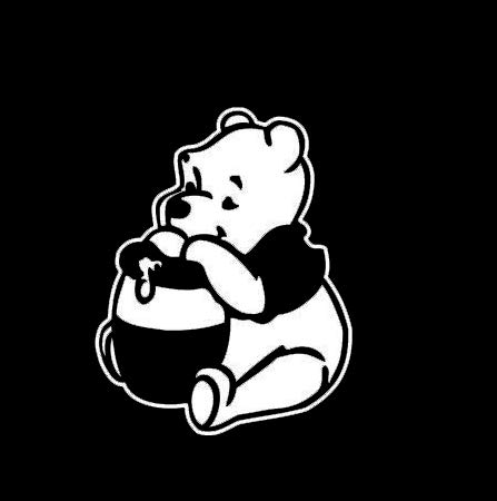 CCI Winnie The Pooh Eating Honey Decal Vinyl Sticker|Cars Trucks Vans Walls Laptop|White|5.5 x 4.3 in|CCI2156]()