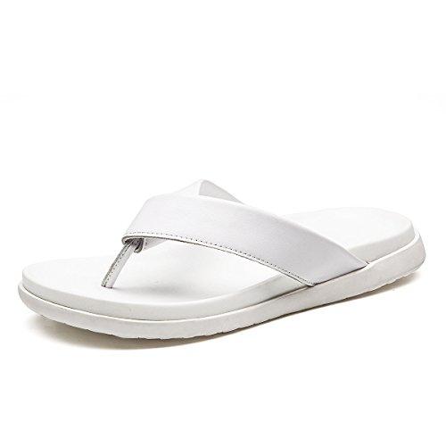 GRRONG D »été Des Hommes Nouvelles Chaussures De Sport Respirant Première Couche De Cuir Des Sandales De Glisser-déposer Poupée Pantoufles En Cuir White