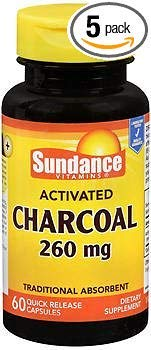 Sundance Vitamins Activated Charcoal 260 mg Dietary Supplement Quick Release Capsules - 60 ct, Pack of 5 ()