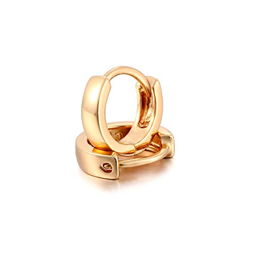 Slim Cute Brass with 18K Yellow Gold Plated Mini Small Cirlces Huggie Hoop Earrings for Childrens Girls Kids 0.37