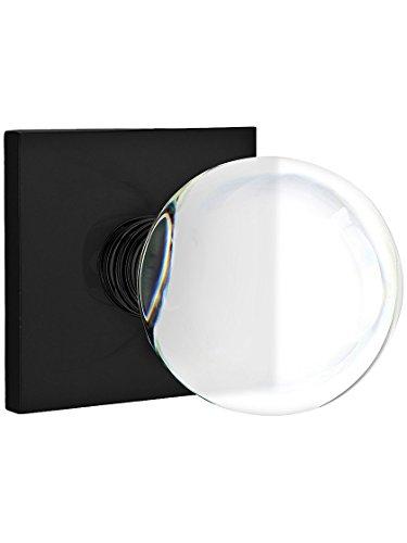 Square Rosette Door Set with Bristol Knobs Privacy in Matte Black ()