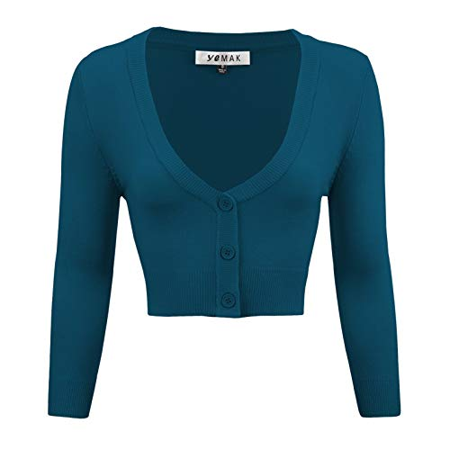 - YEMAK Women's Cropped 3/4 Sleeve Bolero Button Down Cardigan Sweater CO129-TBL-XL Teal Blue