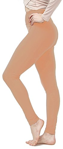 Lush Moda Women's Basic Leggings with Yoga Waist- Extra Soft and Variety of Colors - Fresh Apricot