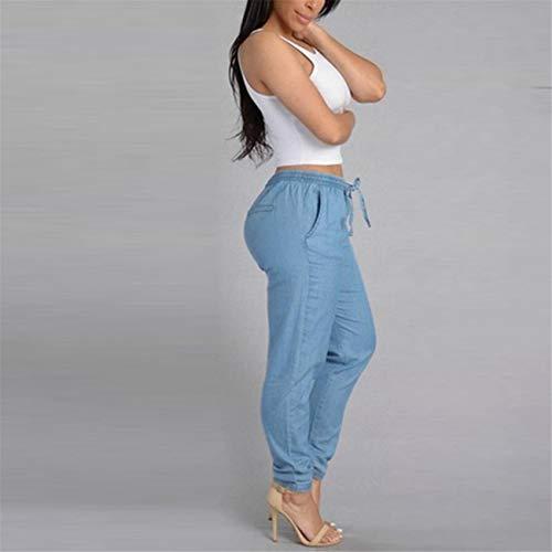 Pantaloni Lhwy Lungo Elegante Elastici A Sottile Con Casual donna Blu Jeans Vita Alta Estivi rnwPqgBr