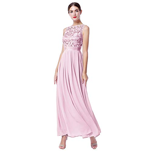 IWEMEK Women Retro Floral Lace Sleeveless Chiffon Dress Floor Length Evening Cocktail Swing Dress Formal Wedding Bridesmaid Party Dance Gown A Line Long Prom Maxi Dress Dusty Pink Medium