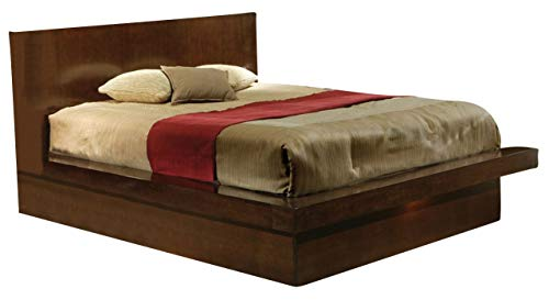 (Coaster Home Furnishings Jessica Queen Platform Bed with Rail Seating and Lights)